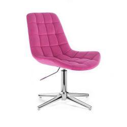 Kosmetická židle PARIS VELUR na stříbrném kříži - růžová