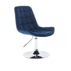 Kosmetická židle PARIS VELUR na stříbrném talíři - modrá