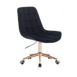 Kosmetická židle PARIS VELUR na zlaté podstavě s kolečky - černá
