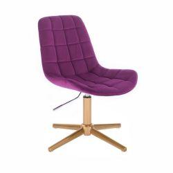 Kosmetická židle PARIS VELUR na zlatém kříži - fuchsie