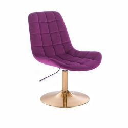 Kosmetická židle PARIS VELUR na zlatém talíři - fuchsie