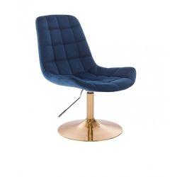 Kosmetická židle PARIS VELUR na zlatém talíři - modrá