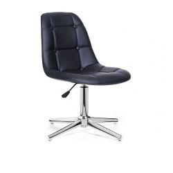 Kosmetická židle SAMSON na stříbrném kříži - černá