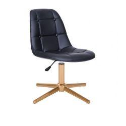 Kosmetická židle SAMSON na zlatém kříži - černá