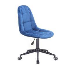Kosmetická židle SAMSON VELUR na černé podstavě s kolečky - modrá