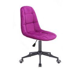 Kosmetická židle SAMSON VELUR na černé podstavě s kolečky - fuchsie