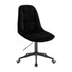 Kosmetická židle SAMSON VELUR na černé podstavě s kolečky - černá