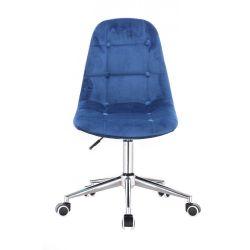 Kosmetická židle SAMSON VELUR na stříbrné podstavě s kolečky - modrá