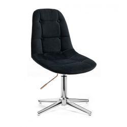 Kosmetická židle SAMSON VELUR na stříbrném kříži - černá
