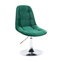 Kosmetická židle SAMSON VELUR na stříbrném talíři - zelená