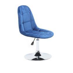Kosmetická židle SAMSON VELUR na stříbrném talíři - modrá