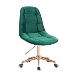 Kosmetická židle SAMSON VELUR na zlaté podstavě s kolečky - zelená