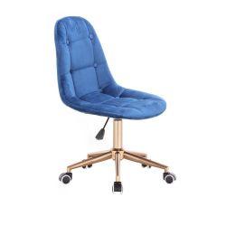 Kosmetická židle SAMSON VELUR na zlaté podstavě s kolečky - modrá