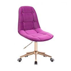 Kosmetická židle SAMSON VELUR na zlaté podstavě s kolečky - fuchsie
