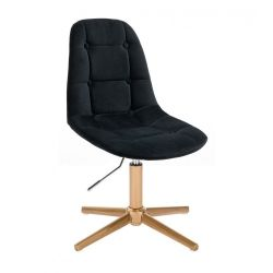 Kosmetická židle SAMSON VELUR na zlatém kříži - černá