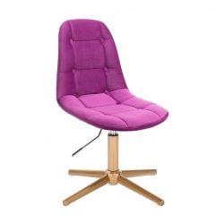 Kosmetická židle SAMSON VELUR na zlatém kříži - fuchsie