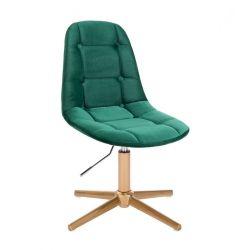 Kosmetická židle SAMSON VELUR na zlatém kříži - zelená