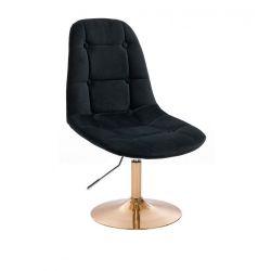 Kosmetická židle SAMSON VELUR na zlatém talíři - černá