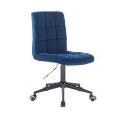 Kosmetická židle TOLEDO VELUR na černé podstavě s kolečky - modrá