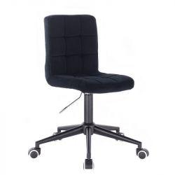 Kosmetická židle TOLEDO VELUR na černé podstavě s kolečky - černá