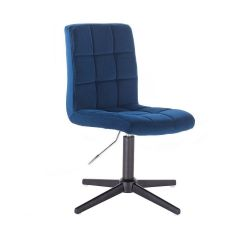 Kosmetická židle TOLEDO VELUR na černém kříži - modrá