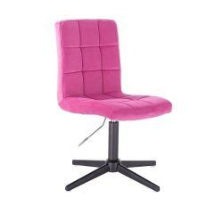 Kosmetická židle TOLEDO VELUR na černém kříži - růžová