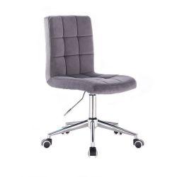 Kosmetická židle TOLEDO VELUR na stříbrné podstavě s kolečky - tmavě šedá