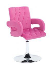 Kosmetická židle  BOSTON VELUR na stříbrném talíři - růžová