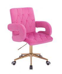 Kosmetická židle  BOSTON VELUR na zlaté podstavě s kolečky - růžová