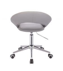 Kosmetická židle NAPOLI na stříbrné podstavě s kolečky - šedá