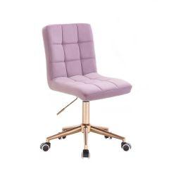 Kosmetická židle TOLEDO VELUR na zlaté podstavě s kolečky - fialový vřes