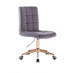 Kosmetická židle TOLEDO VELUR na zlaté podstavě s kolečky - tmavě šedá
