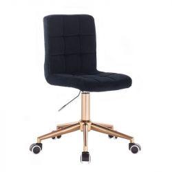 Kosmetická židle TOLEDO VELUR na zlaté podstavě s kolečky - černá