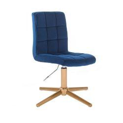Kosmetická židle TOLEDO VELUR na zlatém kříži - modrá