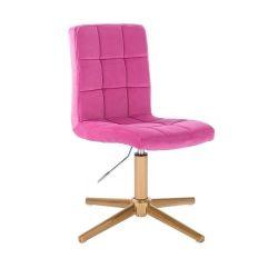 Kosmetická židle TOLEDO VELUR na zlatém kříži - růžová