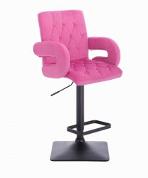Barová židle  BOSTON VELUR na černé podstavě - růžová