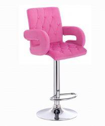 Barová židle  BOSTON VELUR na stříbrném talíři - růžová