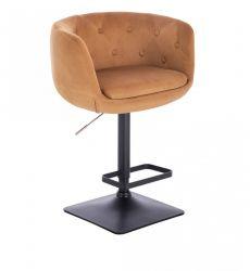 Barová židle MONTANA VELUR na černé podstavě - hnědá