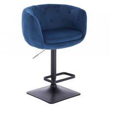 Barová židle MONTANA VELUR na černé podstavě - modrá