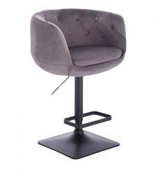 Barová židle MONTANA  VELUR na černé podstavě - šedá