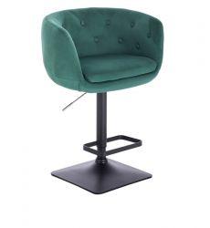 Barová židle MONTANA  VELUR na černé podstavě - zelená