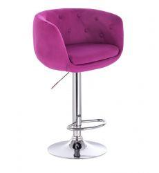 Barová židle MONTANA  VELUR na stříbrném talíři - fuchsie