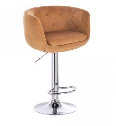 Barová židle MONTANA  VELUR na stříbrném talíři - hnědá