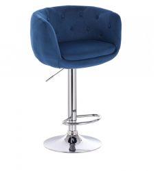 Barová židle MONTANA  VELUR na stříbrném talíři - modrá