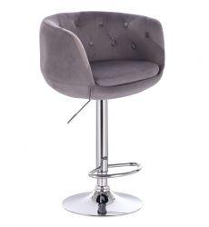 Barová židle MONTANA  VELUR na stříbrném talíři - šedá