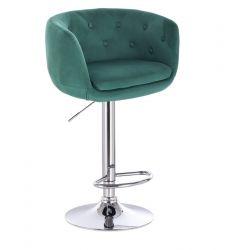 Barová židle MONTANA  VELUR na stříbrném talíři - zelená