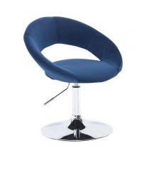 Kosmetická židle NAPOLI VELUR na stříbrném talíři - modrá
