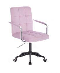 Kosmetická židle VERONA VELUR na černé podstavě s kolečky - fialový vřes
