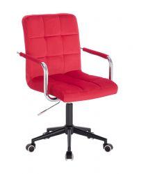 Kosmetická židle VERONA VELUR na černé podstavě s kolečky - červená