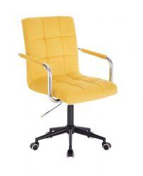 Kosmetická židle VERONA VELUR na černé podstavě s kolečky - žlutá